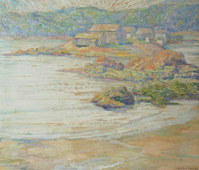 S George Phillips, Research Center Maine, 1930's, Oil on Board - Painting by Samuel George Phillips