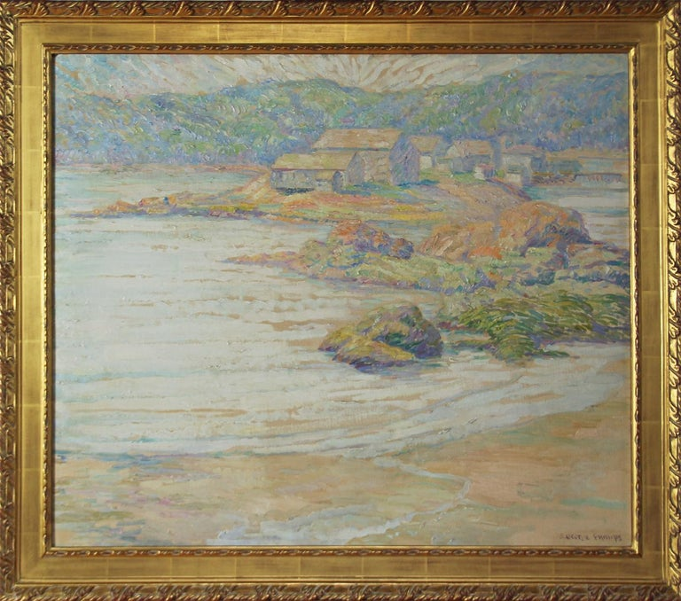Samuel George Phillips Landscape Painting - S George Phillips, Research Center Maine, 1930's, Oil on Board