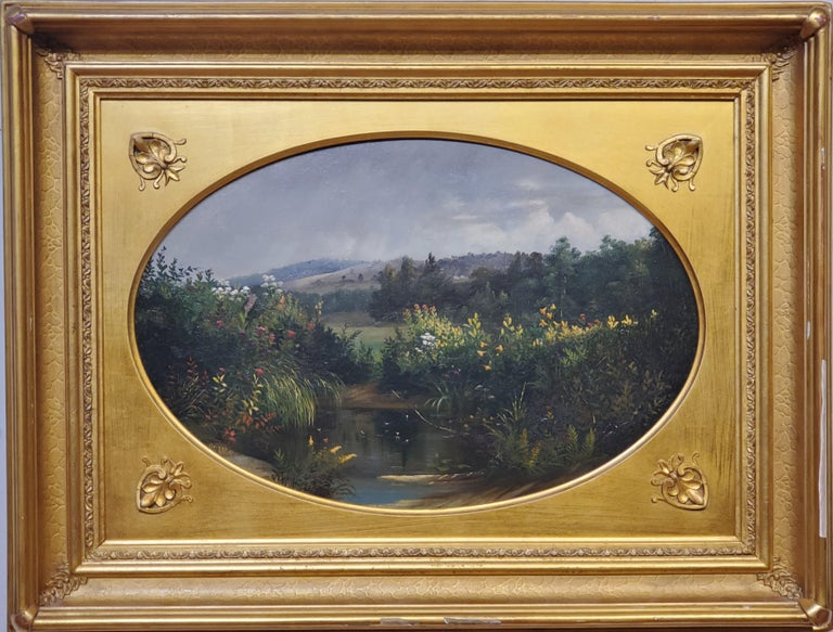 """Oval landscape Study by Samuel Griggs  American 1827-1898  12.5"""" x 18.5"""" oval oil on board.  Framed signed and dated 1857.  New England landscape, likely New Hampshire.  Samuel W. Griggs, American (1827-1898) Griggs was listed as an architect in the"""