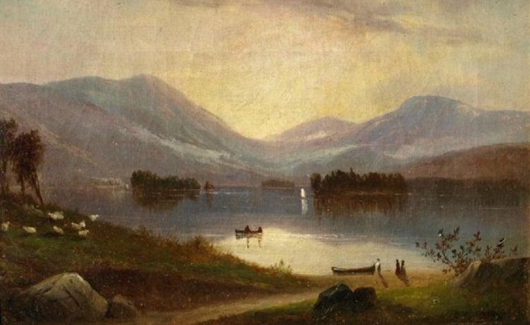 Samuel Griggs Landscape Painting - Sunrise on Lake George New York