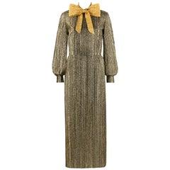 SAMUEL GROSSMAN c.1960's Black & Metallic Gold Bow Collar Maxi Sheath Dress Gown
