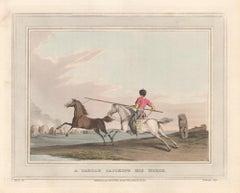 A Tartar Catching His Horse, aquatint engraving hunting print, 1813
