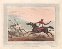 Arabs Hunting Ostriches, aquatint engraving horse hunting print, 1813
