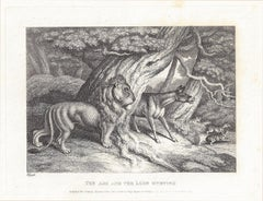 Ass and the Lion Hunting, antique animal fable etching by Samuel Howitt