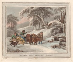 German Deer Shooting, Winter, aquatint engraving hunting print, 1813