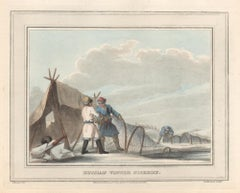Russian Winter Fishery, aquatint engraving hunting print, 1813
