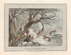 Shooting the Wolves in Winter, aquatint engraving hunting print, 1813