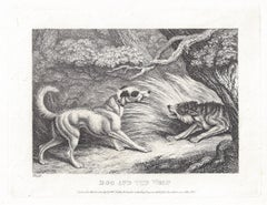 The Dog and the Wolf, antique animal sheep fable etching by Samuel Howitt