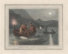 Torch Light Fishing in N America, aquatint engraving hunting print, 1813