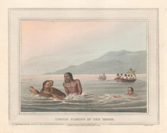Turtle Fishing in the Water, aquatint engraving hunting print, 1813