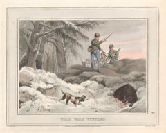 Wild Boar Wounded, aquatint engraving hunting print, 1813