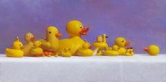 DUCK SQUAD(YELLOW), still-life, bright yellow duck, hyper-realism, purple, vivid