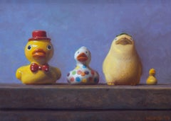 STUDY FOR DUCKS IN A ROW, hyper-realism, still-life, purple background