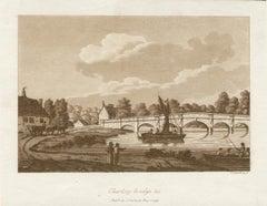 Chertsey Bridge, Surrey, Thames, late 18th century English sepia aquatint, 1799