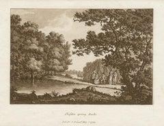 Cliveden spring, Bucks, Thames, late 18th century English sepia aquatint, 1799