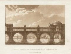 Design for a Bridge, Somerset Pl, late 18th century English sepia aquatint, 1799
