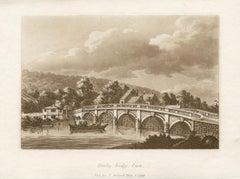 Henley-bridge, Oxon, Thames, late 18th century English sepia aquatint, 1799