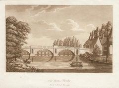 New Staines Bridge, late 18th century English sepia aquatint, 1799