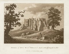 Remains of Henry II's Palace, late 18th century English sepia aquatint, 1799