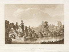 View at Ifley, near Oxford, late 18th century English sepia aquatint, 1799