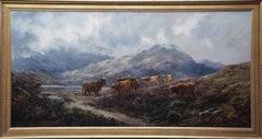 Cattle in a Highland Landscape - British Victorian art landscape oil painting