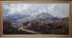 Cattle in a Highland Landscape - British Victorian art landscape oil painting