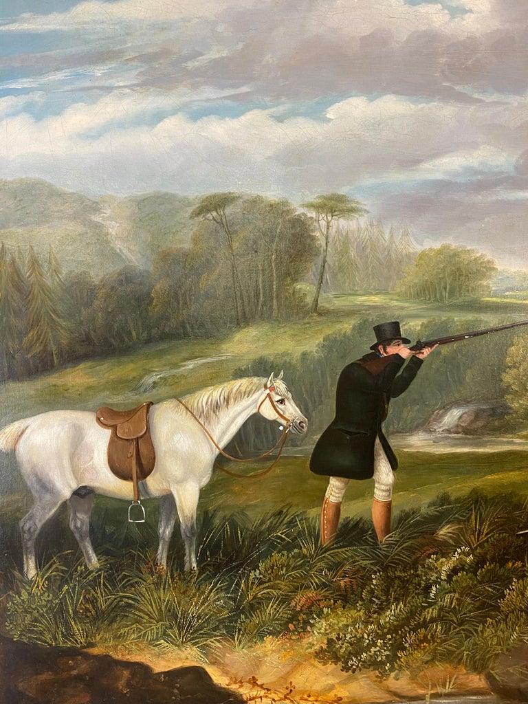 A gentleman partridge shooting in a landscape with dogs - Brown Animal Painting by Samuel John Egbert Jones