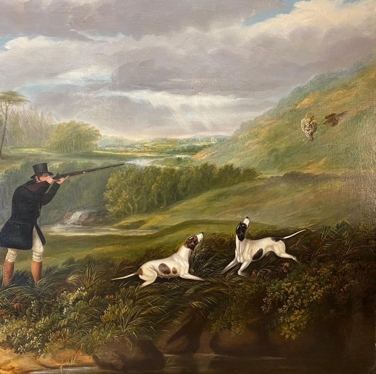 Samuel John Egbert Jones (c.1798-1860) A gentleman partridge shooting in a landscape with dogs Oil on canvas 28 x 36 in (71.1 x 91.4 cm)  For an artist of such ability, popularity and wide output, information about Samuel Jones is comparatively