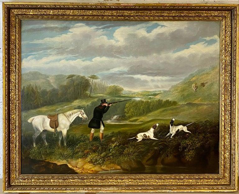 Samuel John Egbert Jones Animal Painting - A gentleman partridge shooting in a landscape with dogs