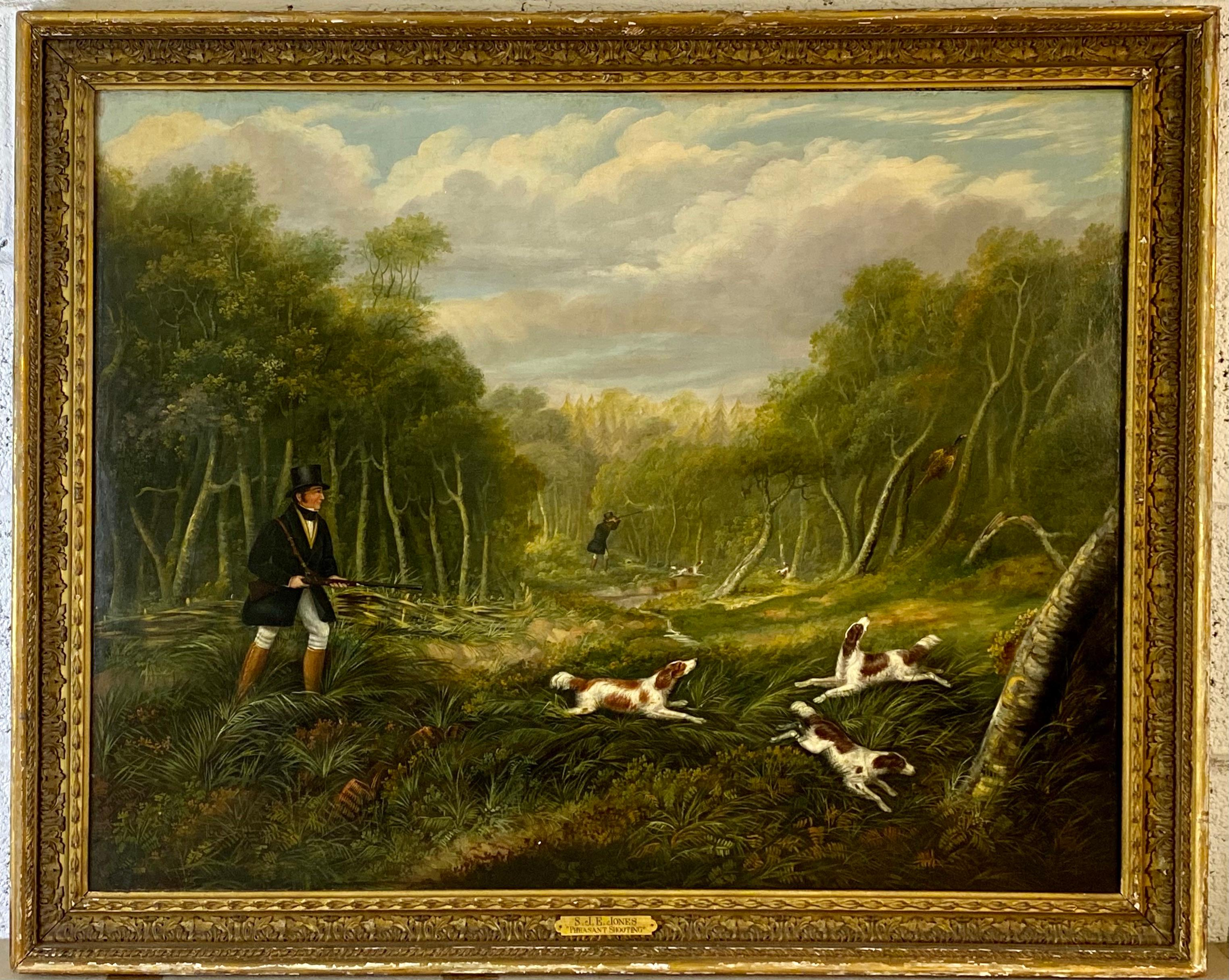 A gentleman pheasant shooting in a landscape with dogs