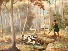A Shooting Landscape Victorian Sporting painting by S J E Jones 19th Century