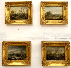 Set of four 19thC English Shooting scenes, hunting duck,Pheasant,Quail and Snipe