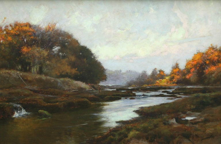 River Lune nr Lancaster - British 19thC Impressionist art landscape oil painting - Painting by Samuel John Lamorna Birch