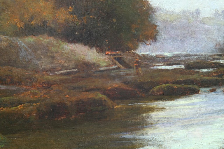 A delightful oil on canvas by Newlyn listed artist Samuel Lamorna Birch. Painted circa 1895 it depicts The River Lune and a fisherman near Lancaster and it is a stunning example of early British impressionism. One of the best early works by this