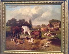 English barnyard with horses, cows, ducks, sheep and goats