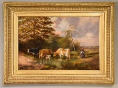 "Oil Painting by Samuel Joseph Clark ""The Cow Maid"""