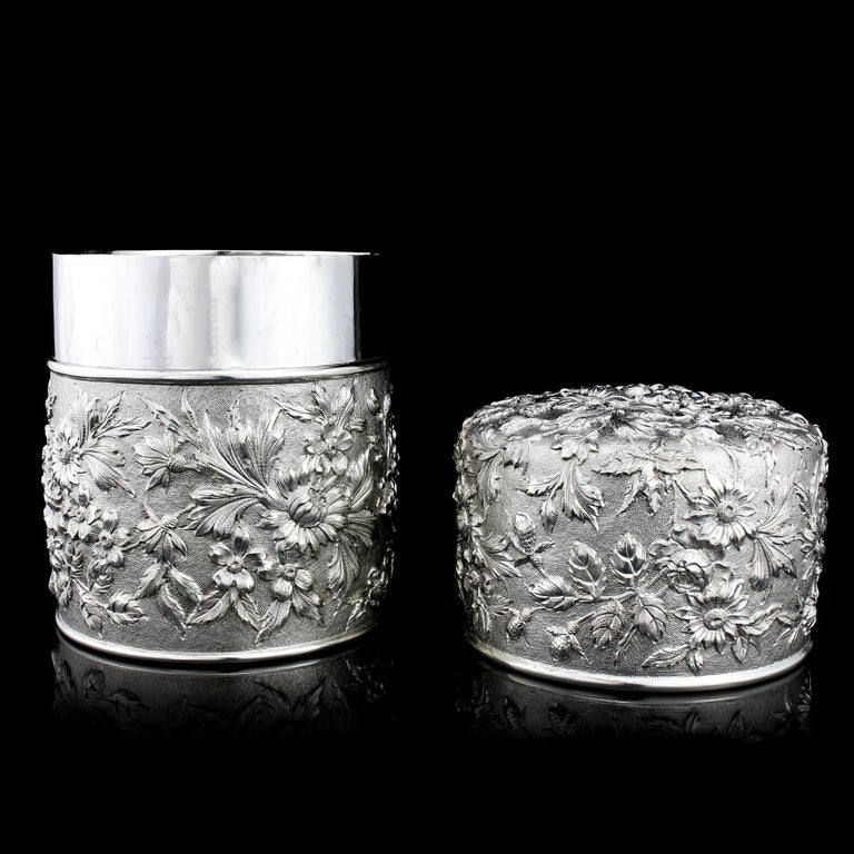 Late 19th Century Samuel Kirk Antique 19th Century American Sterling Silver Tea Caddy/Cookie Jar For Sale