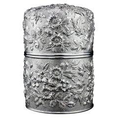 Samuel Kirk Antique 19th Century American Sterling Silver Tea Caddy/Cookie Jar