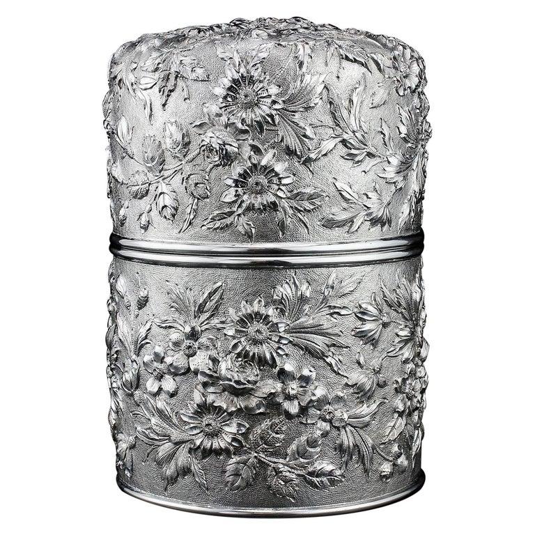 Samuel Kirk Antique 19th Century American Sterling Silver Tea Caddy/Cookie Jar For Sale