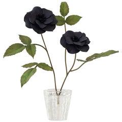 Samuel Mazy Black Porcelain Rosebush Sculpture