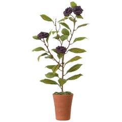 Samuel Mazy Purple Porcelain Camelia Tree Sculpture