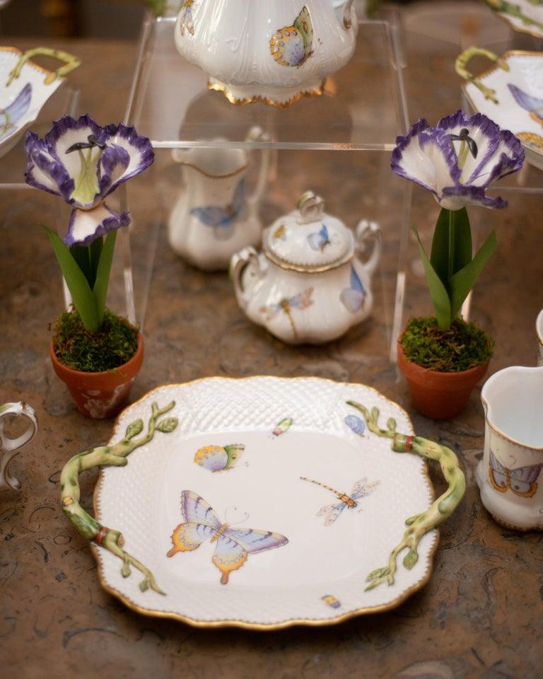 Hand-Painted Samuel Mazy Purple Porcelain Tulip Sculpture For Sale