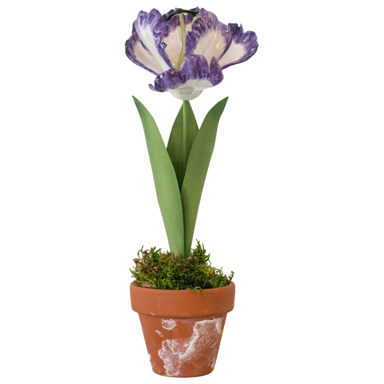 Samuel Mazy Purple Porcelain Tulip Sculpture For Sale
