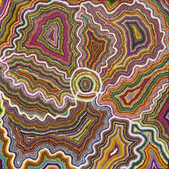 Colorful Australian Aboriginal abstract landscape dot painting on canvas
