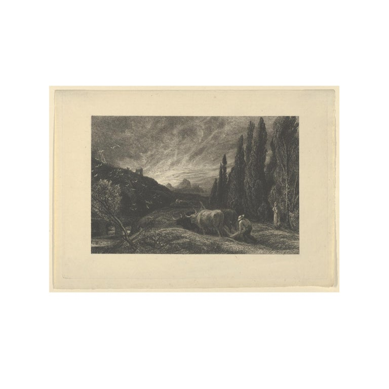 Samuel Palmer (b.1805) Landscape Print - 'The Early Ploughman' or 'The Morning Spread upon the Mountains'