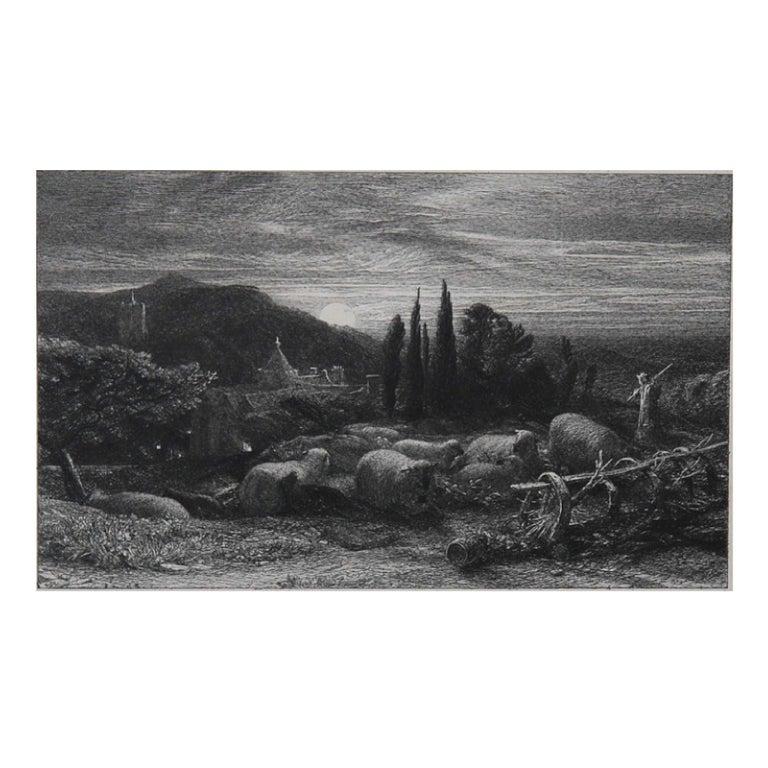 Samuel Palmer (b.1805) Landscape Print - The Rising Moon' or 'An English Pastoral'