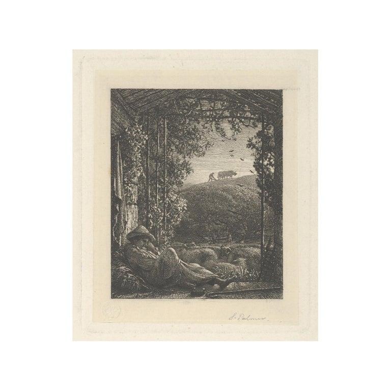 Samuel Palmer (b.1805) Landscape Print - The Sleeping Shepherd