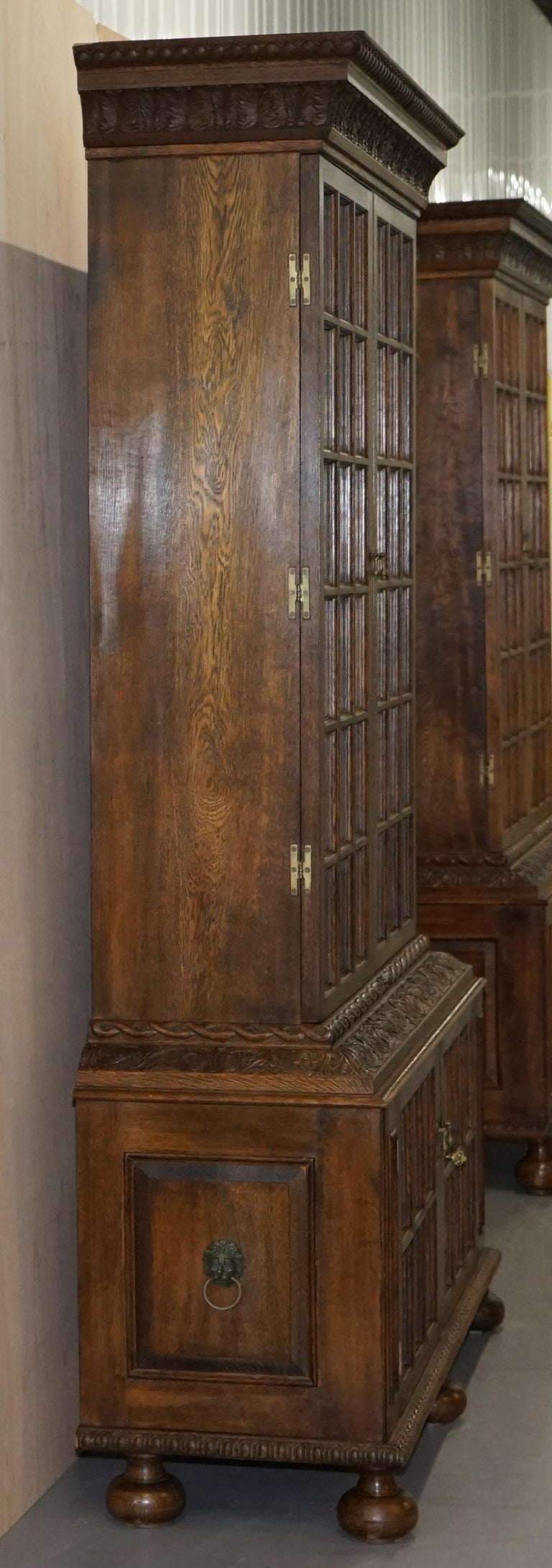 Samuel Pepys 1666 Oak Library Bookcases Pair High Provenance Carved by Forsyth For Sale 3