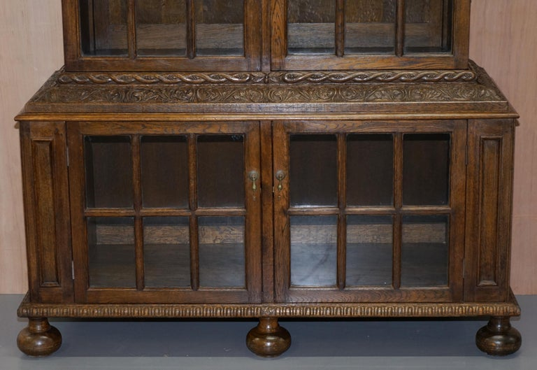 Hand-Crafted Samuel Pepys 1666 Oak Library Bookcases Pair High Provenance Carved by Forsyth For Sale