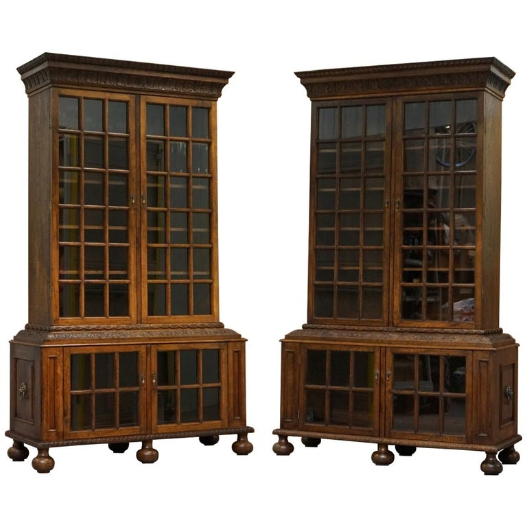 Samuel Pepys 1666 Oak Library Bookcases Pair High Provenance Carved by Forsyth For Sale